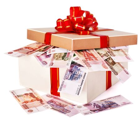 ruble: Gift box with  money (Russian rouble).  Isolated. Stock Photo