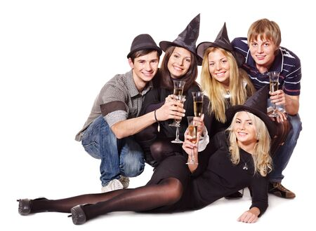 Group young people on party. Isolated. photo
