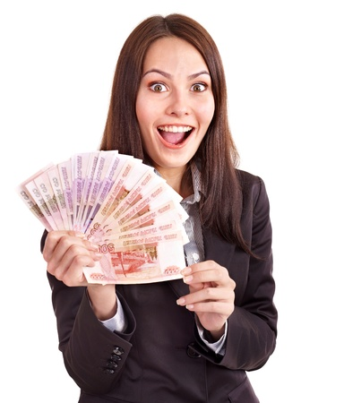Woman with  money. Russian rouble. Isolated. photo