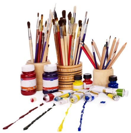 art and craft equipment: Cierre de materiales de arte del grupo. Foto de archivo