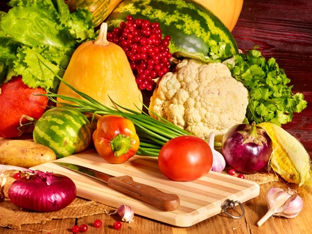 Fresh vegetable on wooden boards. photo