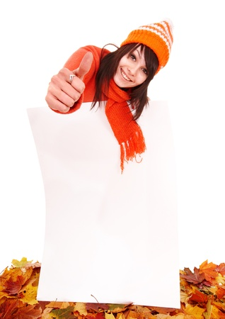 Girl in autumn orange sweater holding banner. Isolated. photo