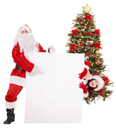 Santa claus and girl holding banner by christmas tree.. Isolated.