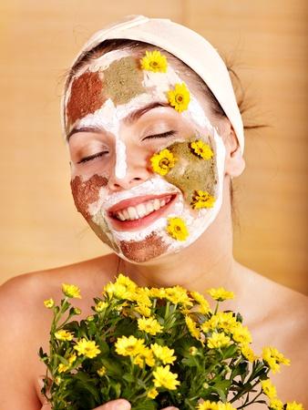 remedy: Natural homemade clay  facial masks at home .  Stock Photo