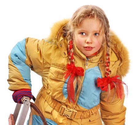 litle: Little girl holding sleigh on white. Stock Photo