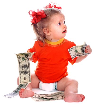 Child with euro money. Business concept.How much it costs to have a baby? photo