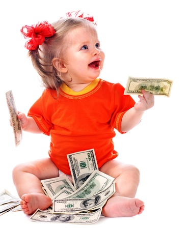 giving money: Child with euro money. Business concept.How much it costs to have a baby? Stock Photo