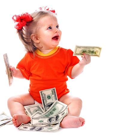 dinero euros: Ni�o con el dinero del euro. Concept.How negocio lo que cuesta tener un beb�?