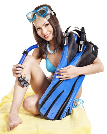 Girl wearing diving gear.  Isolated. Stock Photo - 11174757