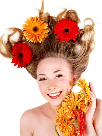 Happy young woman with tousled hair. Spring hairstyle. photo
