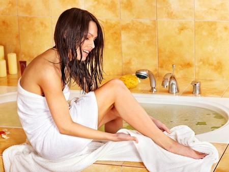 woman in bath: Young woman take bubble  bath.