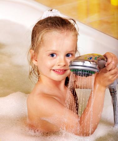 Child washing in bubble bath . Stock Photo - 11174896