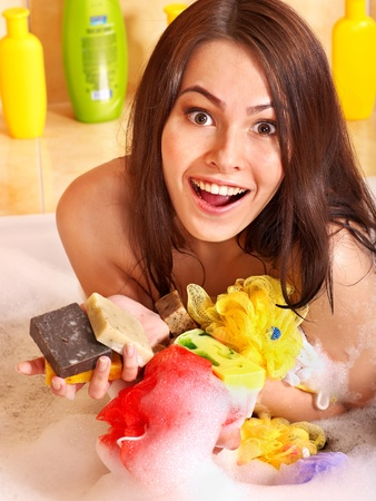 Young woman take bubble  bath. Stock Photo - 11174850