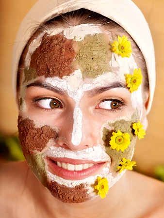 Natural homemade clay  facial masks at home .  photo