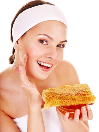 body mask: Natural homemade organic  facial masks of honey. Isolated.