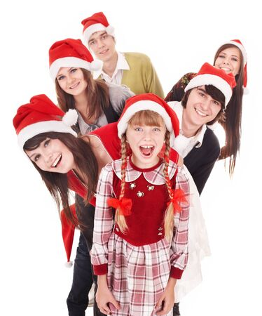 Happy group people with children in santa hat .  Isolated. Stock Photo - 11209933