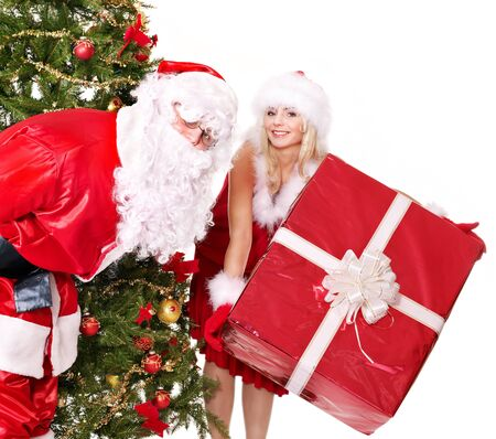 Santa claus and christmas girl. Isolated. photo