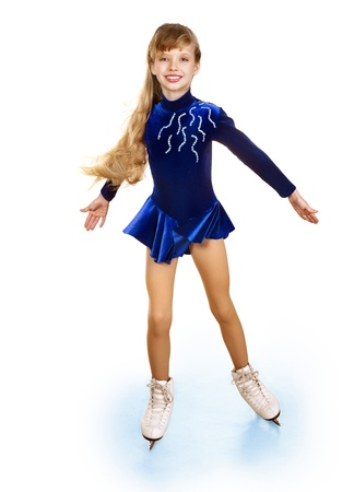 one girl only: Happy young girl figure skating. Isolated.