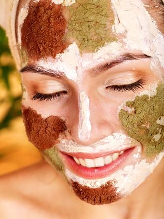 Natural homemade clay  facial masks at home .  photo