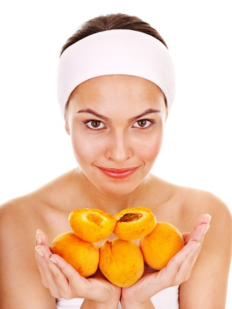 Natural homemade fruit  facial masks . Isolated. photo