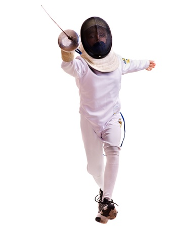 fencing sword: Child epee fencing lunge. Isolated.