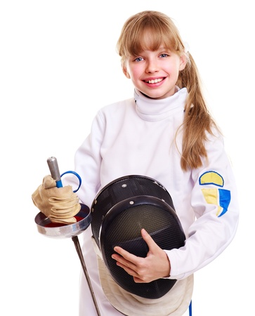 Child in fencing costume holding epee . Isolated. Stock Photo - 11209997