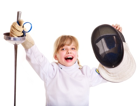 fencing: Child in fencing costume holding epee. Isolated. Stock Photo