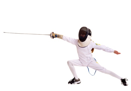 thrust: Child epee fencing lunge. Isolated.