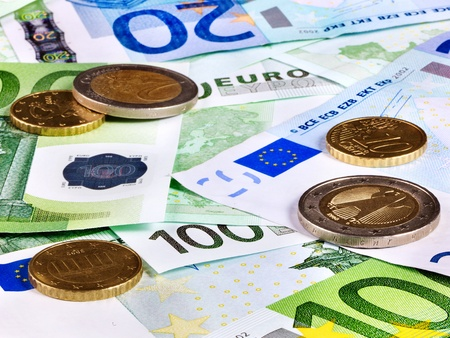 euro banknote: Background of euro money. Close up.