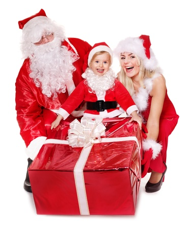 Santa claus family with child. Isolated. photo