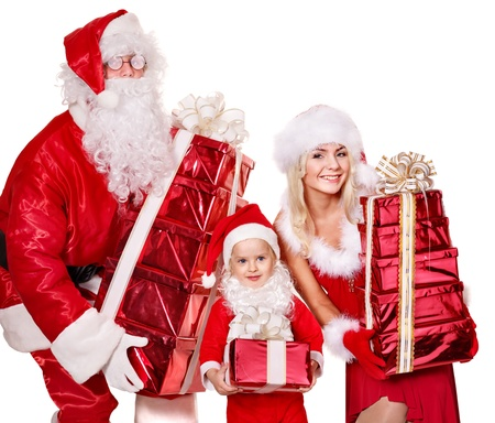 Santa claus family with child holding  gift box.  Isolated. photo