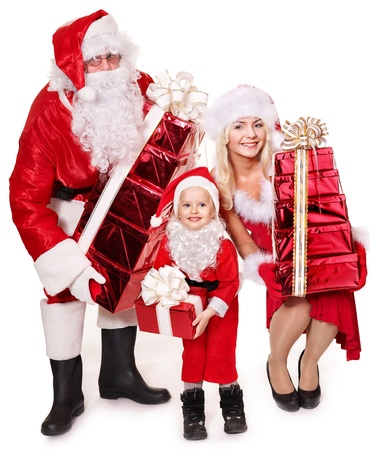 Santa claus family with child holding stack gift box..  Isolated. photo