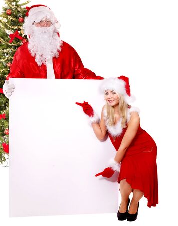 Santa claus and christmas girl holding banner. Isolated. Stock Photo
