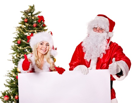 Santa claus and christmas girl holding banner. Isolated. Stock Photo - 11439325