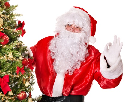 Santa claus by christmas tree.  Isolated. photo