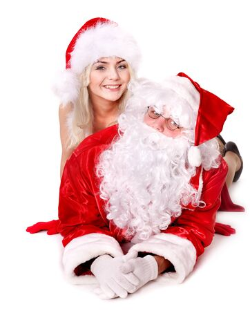Santa claus and christmas girl show thumb up. Isolated. Stock Photo - 11439306
