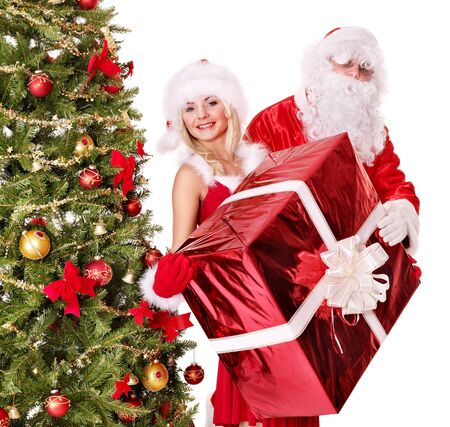 Santa claus and christmas girl. Isolated. Stock Photo - 11439376