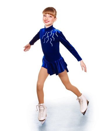 Happy young girl figure skating. Isolated. Stock Photo - 11439269