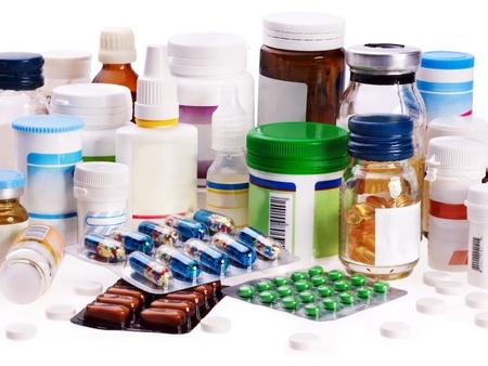 blister: Groep blisterverpakking van pillen. Remedy geïsoleerd. Stockfoto
