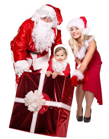 Santa claus family with child holding  gift box..  Isolated. photo
