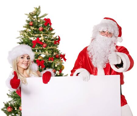 Santa claus and christmas girl holding banner. Isolated. photo