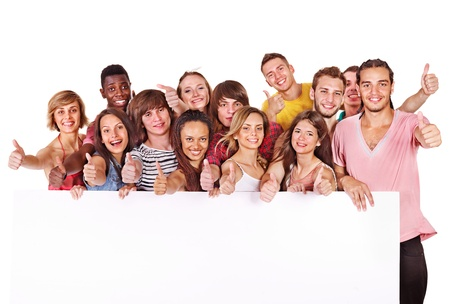 mixed ethnicities: Group people holding banner. Isolated.