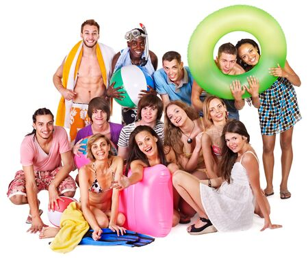 Group people holding beach accessories. Isolated. Stock Photo - 13304722
