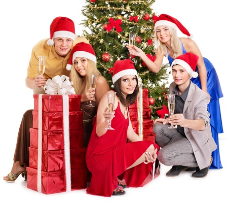 Group young people in Santa hat drinking champagne. Stock Photo - 11439534
