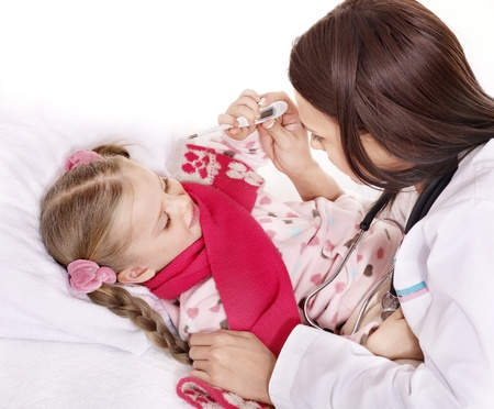 Doctor checking temperature of child. Stock Photo - 11439535