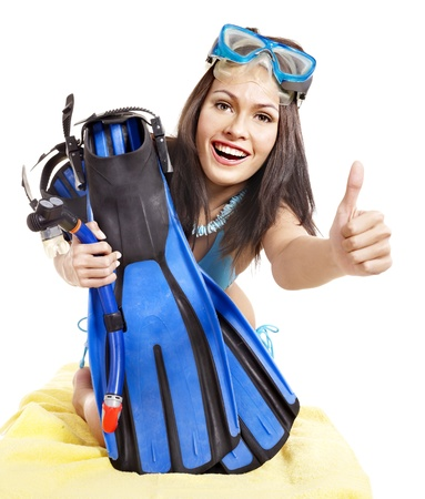 Girl wearing diving gear.  Isolated. photo