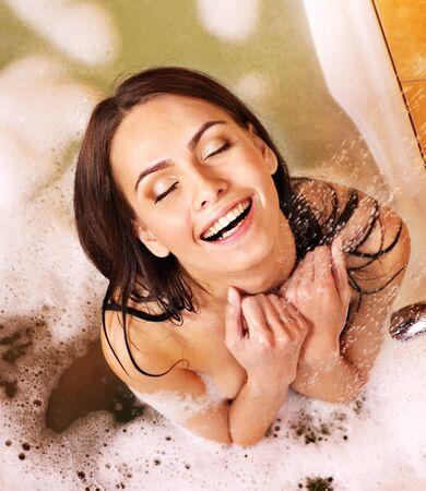 bath room: Young woman take bubble  bath.