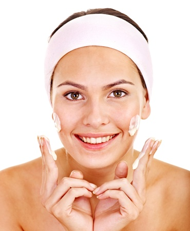 masajes faciales: Natural máscaras faciales hechas en casa. Aislados. Foto de archivo