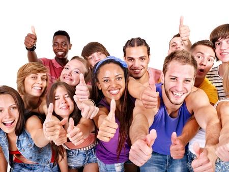 Multi-ethnic group people.  Isolated. photo