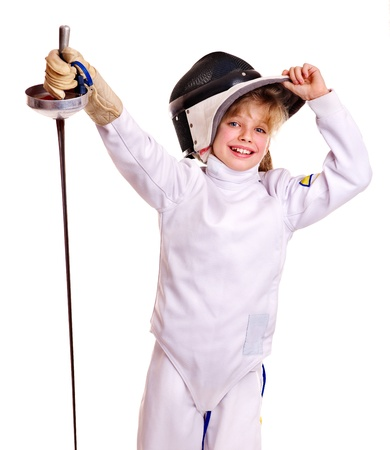 fencing foil: Child in fencing costume holding epee . Isolated.